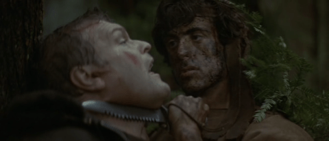 Brian Dennehy y Sylvester Stallone. First Blood. (Orion Pictures. 1982.)