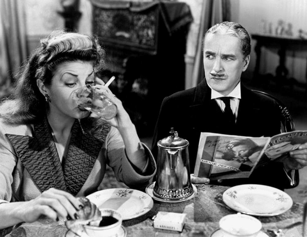 Martha Raye y Charles Chaplin. (Monsieur Verdoux. United Artists, Charles Chaplin Productions. 1947.)