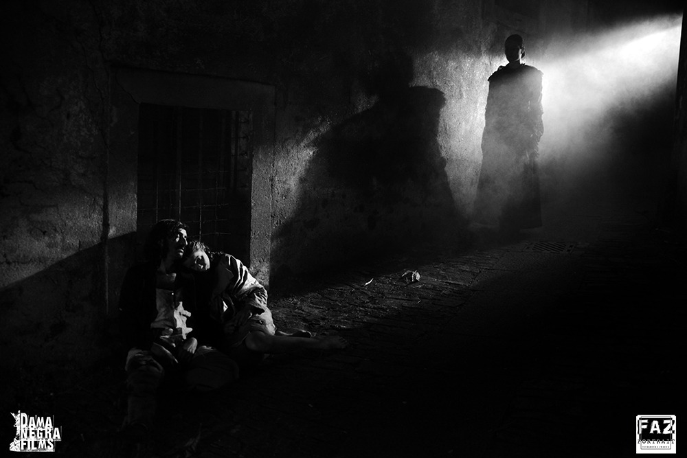 Carmen Méndez, Eva Barreiro y Alfonso Míguez. (El rastro del cazador. Dama Negra Films. 2019.)