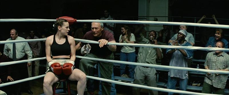 Hilary Swank y Clint Eastwood. (MIllion dollar baby. Warner Bros., Lakeshore Entertainment, Malpaso Productions, Albert S. Ruddy Productions, Epsilon Motion Pictures, Studiocanal. 2004.)