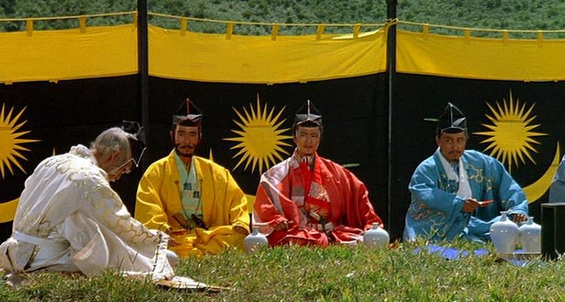 Tatsuya Nakadai,Jinpachi Nezu, Daisuke Ryû y Akira Terao. (Ran. Greenwich Film Productions, Herald Ace, Nippon Herald. 1985.)