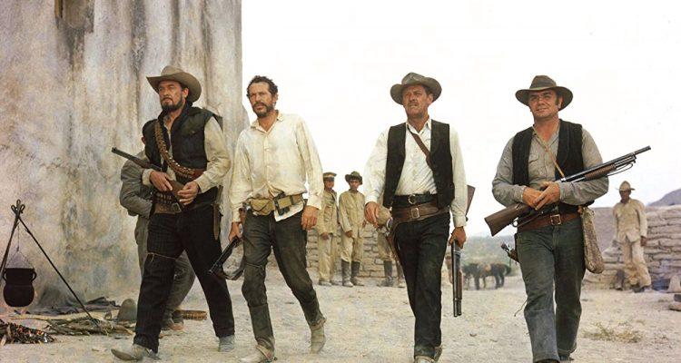 William Holden, Ernest Borgnine, Ben Johnson y Warren Oates . (Grupo Salvaje. Warner Bros. 1969.)