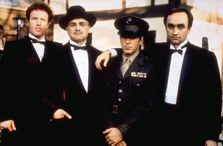 James Caan, Marlon Brando, Al Pacino y John Cazale. (The Godfather. Paramount Pictures, Alfran Productions. 1972.)