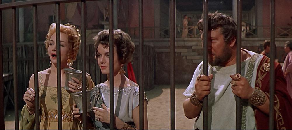 Peter Ustinov, Nina Foch y Joanna Barnes. (Espartaco. Bryna Productions, Universal Pictures. 1960.)