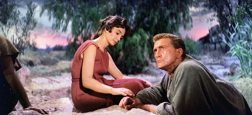 Jean Simmos y Kirk Douglas. (Espartaco. Bryna Productions, Universal Pictures. 1960.)
