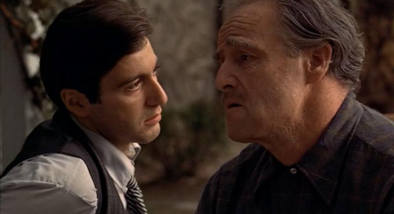 Marlon Brando y Al Pacino. (The Godfather. Paramount Pictures, Alfran Productions. 1972.)