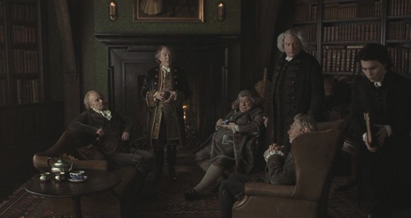Johnny Depp, Jeffrey Jones, Michael Gough, Ian McDiarmid, Michael Gambon y Richard Griffiths. (Sleepy Hollow. Mandalay Pictures, Scott Rudin Productions, American Zoetrope. 1999.)